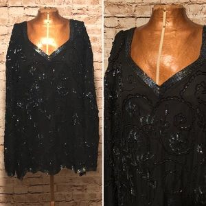 Vintage 1980s Laurence Kazar Black Sequin Top